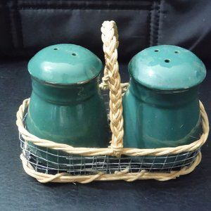 Green Salt and Pepper Shakers in Basket